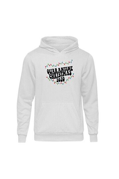 Fandomya Yılbaşı Quarantine Beyaz Kapşonlu Hoodie Sweatshirt