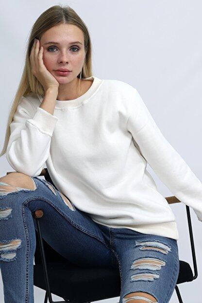 Deafox Ekru Üç Iplik Kadın Sweatshirt