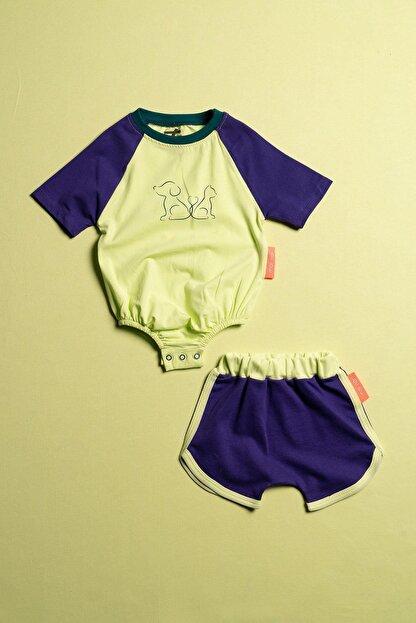 Moi Noi Alttan Çıtçıtlı Şortlu Unisex Bebek 2 Parça Takım
