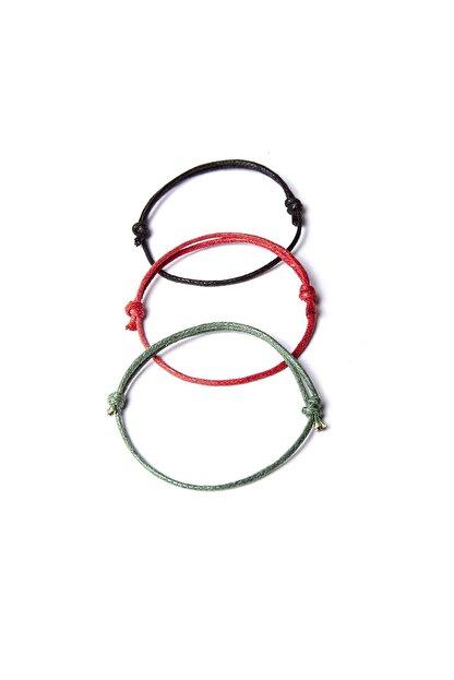 Chill & Feel Kalın Ip - Siyah, Kırmızı, Yeşil 3lü Bileklik