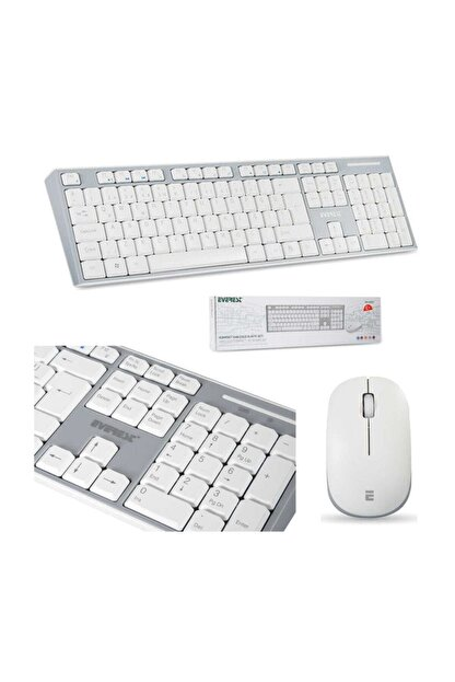 Everest Km-6063 Beyaz/gri Kablosuz Q Multimedia Klavye + Mouse Set