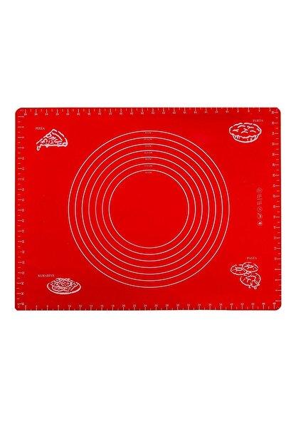 sunsetavm Silikon Hamur Açma Matı (Ölçülü) - Kırmızı - 50x40 Cm