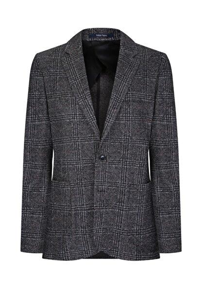 W Collection Gri Siyah Bordo Ekoseli Ceket