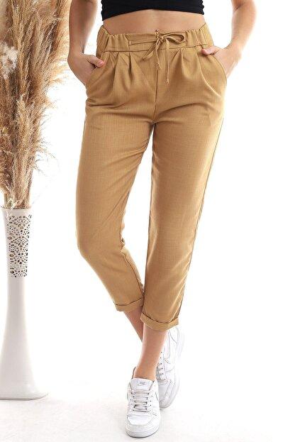 Cotton Mood 20343111 Viskon Flamlı Fermuarlı Fleto Cepli Havuç Pantolon Bisküvi