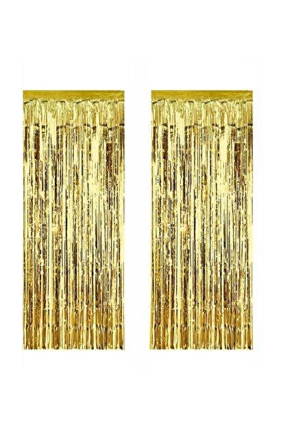 ELITETIME 2 Adet Kapı Perdesi Kapı Banner Fon Süsü Metalize Altın