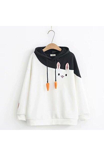 öz taha Kadın Beyaz Tavşan Sweatshirt