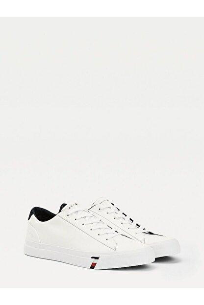 Tommy Hilfiger Erkek Beyaz Sneaker Corporate Deri Sneaker FM0FM02983