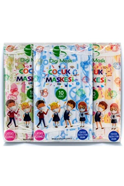Digi Mask 7 Tepe Store Yüksek Koruma Desenli Çocuk Maskesi - 50 Adet