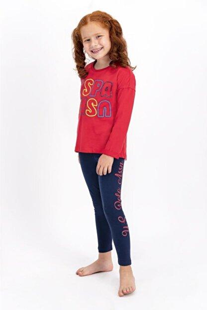 US Polo Assn Açık Kırmızı Lisanslı Kız Çocuk Tayt Takım
