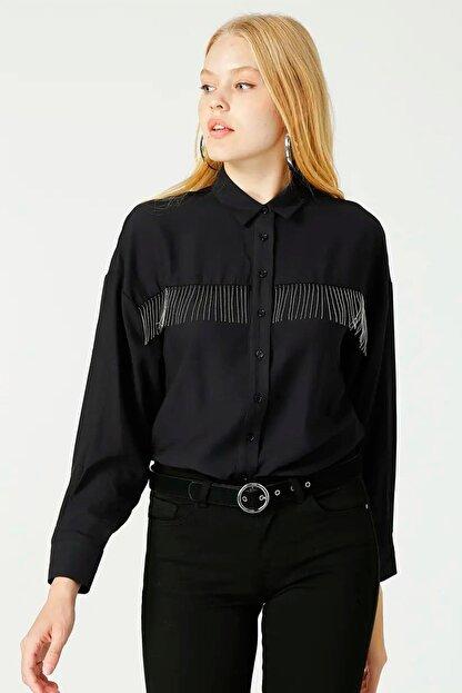 Loft Kadın Taşlı Püsküllü Siyah Gömlek Lf2025064