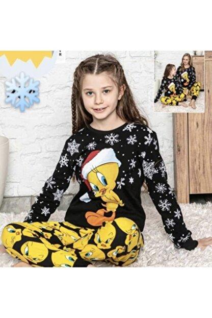Lolliboomkids Kız Çocuk 2'li Kol Paça Manşetli Siyah Sarı Renk Kar Desen Tweety Pijama Takımı