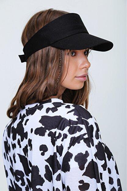 Trend Alaçatı Stili Kadın Siyah Tenis Şapkası ALC-A2197
