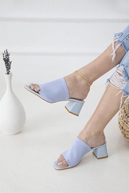 Straswans Granada Kadın Triko Topuklu Terlik Mavi