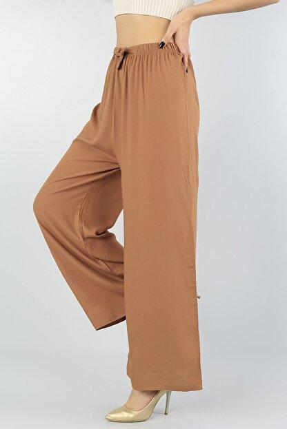 KaSheHa Kadın Vizon Beli Lastikli Kuşaklı Salaş Dokuma Viskon Pantolon