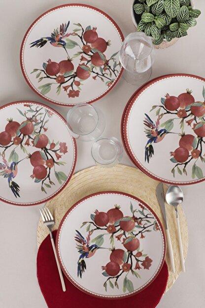 Keramika Nar Çiçeği  Servis Tabağı 26 Cm 6 Adet - 19154