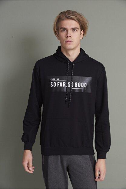 Tena Moda Erkek Siyah Kapşonlu Kanguru Cepli So Far So Good Baskılı Sweatshirt
