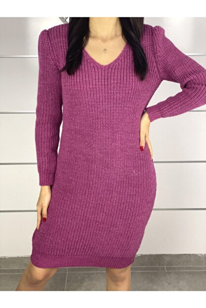 ELBİSENN Yeni Model Kadın V Yaka Yırtmaç Detay Triko Elbise (Pembe)