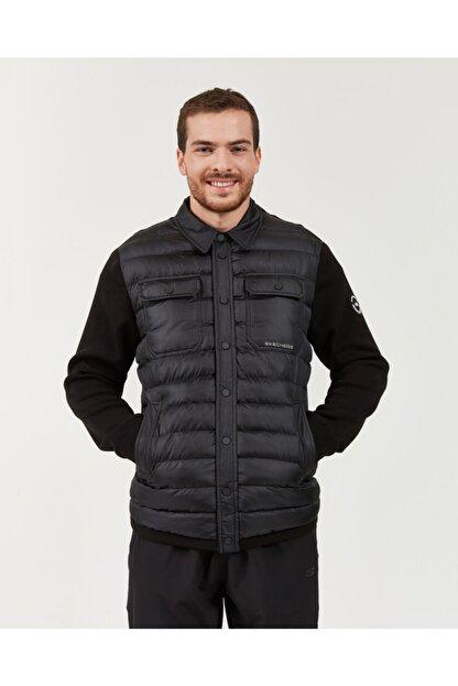Skechers Outerwear M Rib Shirt Collar LW Jacket Erkek Siyah mont