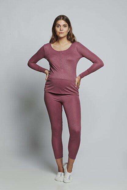 LYN MAMA Hamile Lilian Pijama Takımı - Gülkurusu