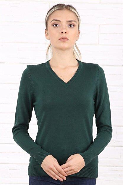 Arlin Kadın V Yaka Uzun Kol Yeşil Triko/kazak