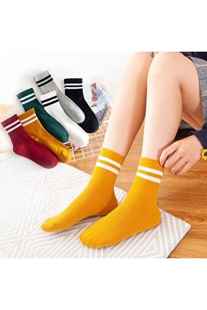 çorapmanya Kadın 6' Lı Karışık Renkli Çizgili Tenis Çorabı
