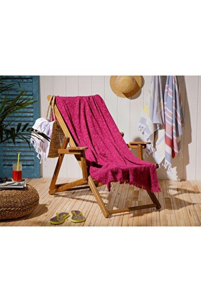 English Home Chic Damask Jakarlı Plaj Havlusu 80X150 Cm Mürdüm