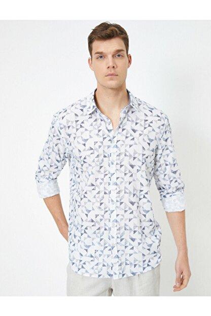 Koton %100 Pamuklu Desenli Klasik Yaka Dar Kesim Uzun Kollu Gömlek