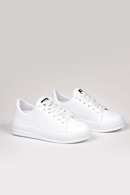 Weynes Kadın Beyaz Bağcıklı Deri Spor Ayakkabı Ba18018