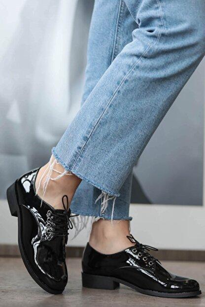 Mio Gusto Berta Siyah Rugan Oxford Ayakkabı