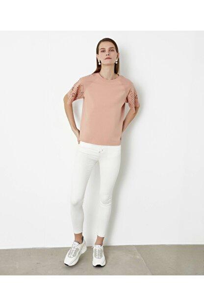 İpekyol Beyaz Iş Kol Detaylı Tshirt