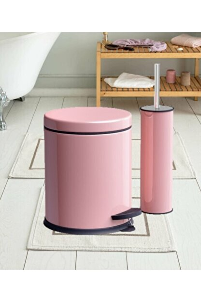 Berta Hijyen Berta 2'li Pembe Banyo Seti Çöp Kovası Tuvalet Fırçası