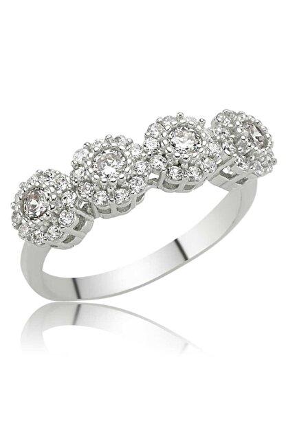 Candie Silver Çiçek Model Beştaş Bayan 925 Ayar Gümüş Yüzük