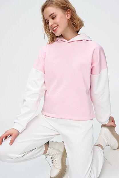 Trend Alaçatı Stili Kadın Pembe Renk Bloklu Şardonlu Kapüşonlu Eşofman Takım ALC-507-520-GR