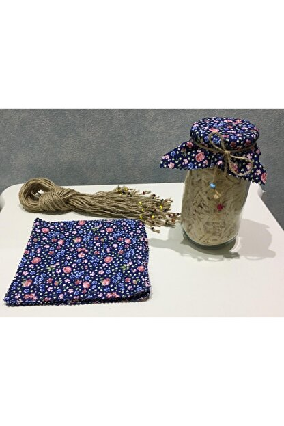 El Emeği 50 Adet Lacivert Kavanoz Kapağı Kumaşı (Örtüsü) Ve Boncuklu Bağlama Ipi