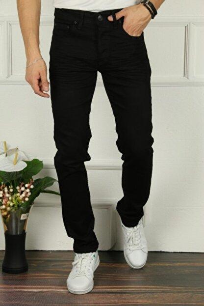 çerme Erkek Siyah Comfort Geniş Bol Kesim Jean Pantolon