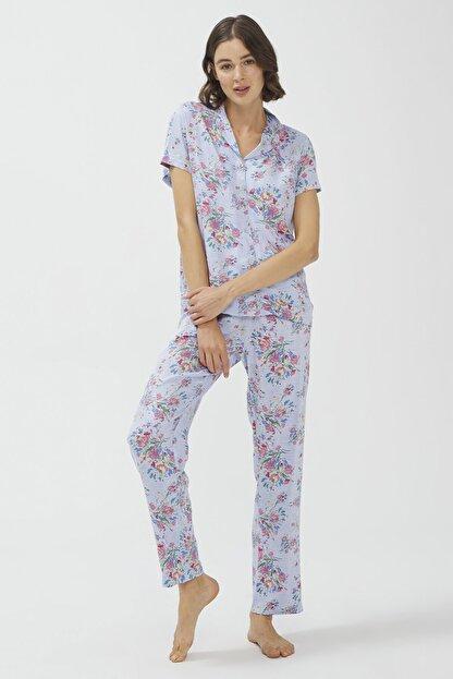Penti Açık Mavi Oil Baskılı Pijama Takımı
