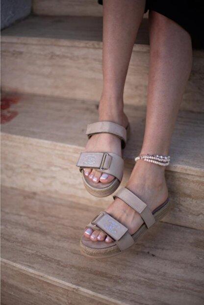 Espardile Kadın Kahverengi Taşlı Sandalet