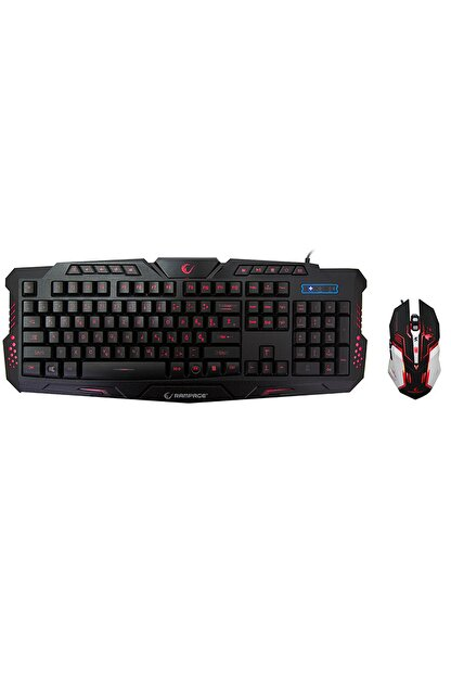Rampage Km-r77 Black Usb 3 Color Led Lc Layout Multimedia Gaming Keyboard + Mouse Set