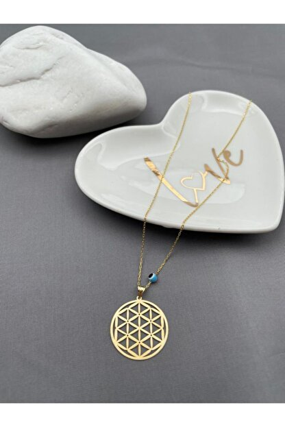 akl silver Gold Yaşam Çiçeği Kolye
