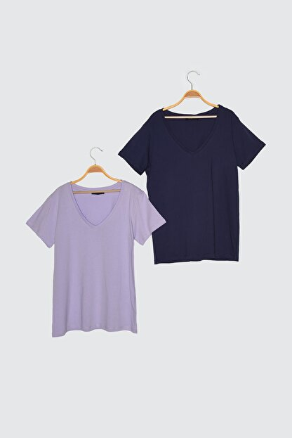 TRENDYOLMİLLA Lacivert-Lila %100 Pamuk Basic V Yaka 2'li Paket Örme T-Shirt TWOSS20TS0142