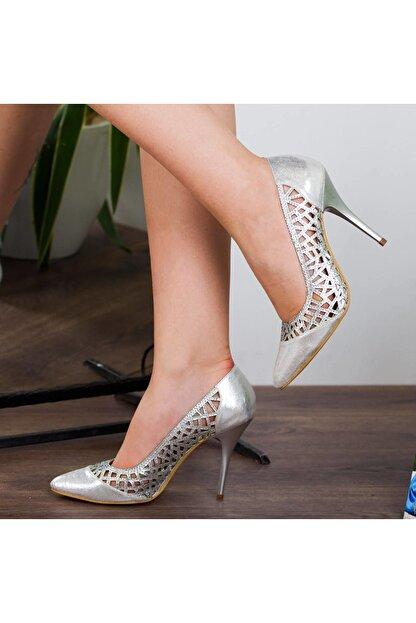 Adım Adım Gümüş Stiletto Yüksek Topuk Abiye Gelin Kadın Ayakkabı • A182ysml0011