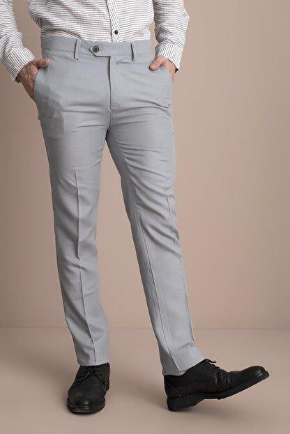 Tena Moda Erkek Gri Viskonlu Keten Pantolon