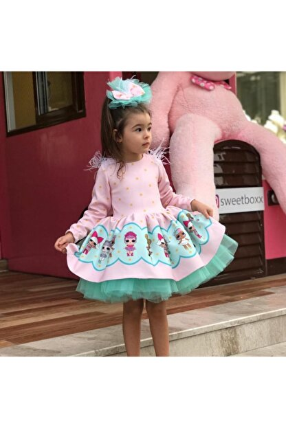 Ricco Pembe Turkuaz Tütülü Lol Baby Kız Çocuk Elbise