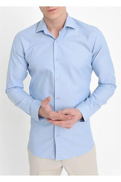 Efor Gk 549 Slim Fit Mavi Klasik Gömlek