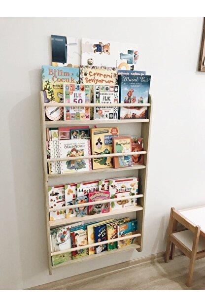 ue mobilya Montessori Kitaplık 4 Raflı Ahşap