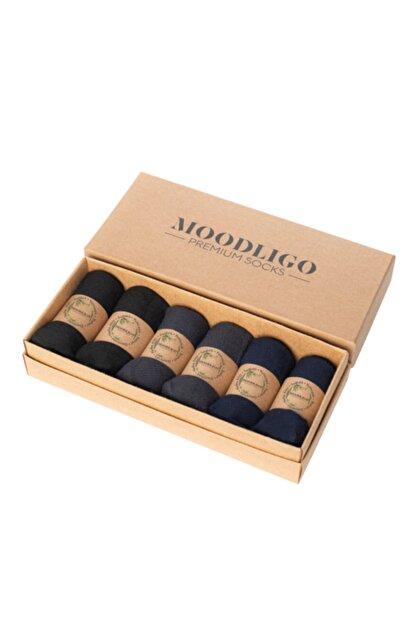 Moodligo Premium 6'lı Bambu Patik Erkek Çorap 2 Siyah 2 Füme 2 Lacivert