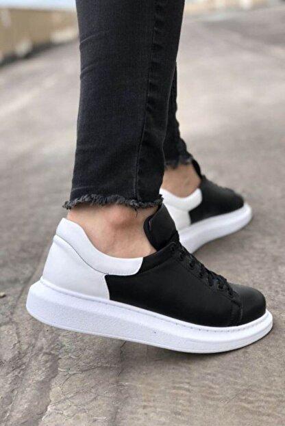 Marsetti Erkek Siyah Beyaz Yüksek Taban Ayakkabı
