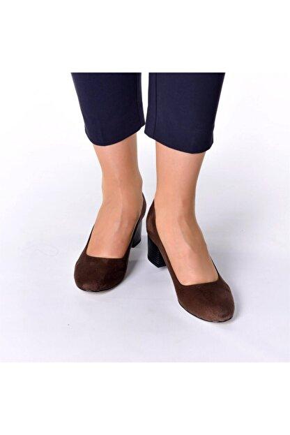 İriadam 1453 Kahve Süet Topuklu Büyük Numara Kadın Ayakkabıları
