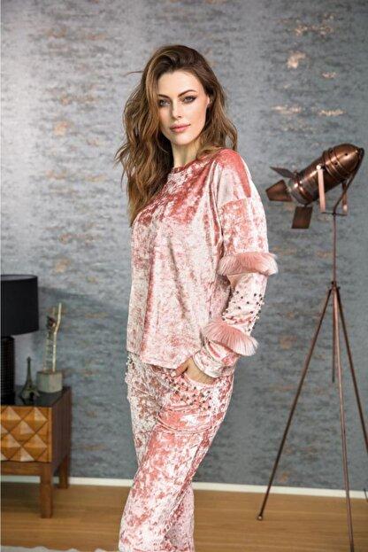 Anıl 9611 Kadın Pijama Kadife Püskül Detaylı Üst Pantolon Tk