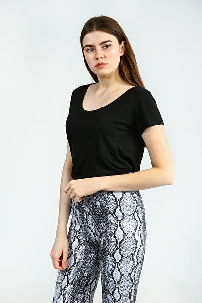 Collezione Sıyah Kısa Kollu Basic Kadın Tshirt
